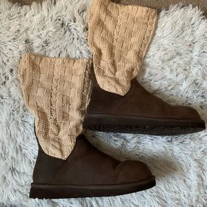 {UGG} Brown Leather/Cream Knit Ugg Boots